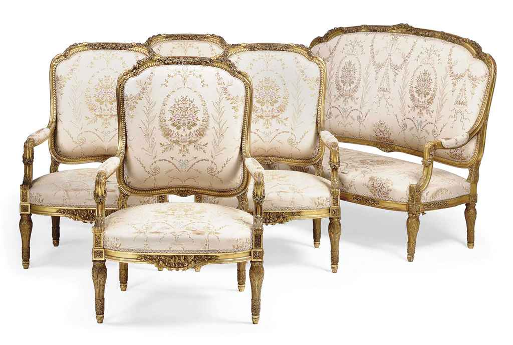 A french carved giltwood salon suite of louis xvi style for 212 salon st louis