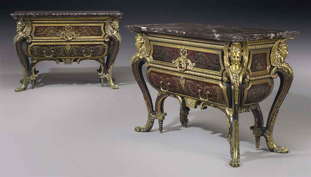A FINE PAIR OF NAPOLEON III ORMOLU-MOUNTED CUT-BRASS, RED TO...