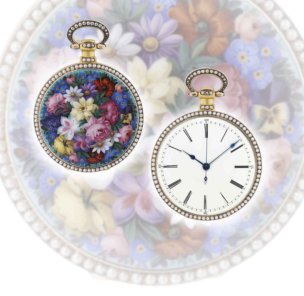 Bovet Fine and rare silver gilt, enamel and pearl-set ope...