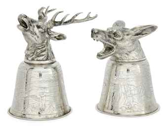 A PAIR OF GERMAN SILVER STIRRUP CUPS