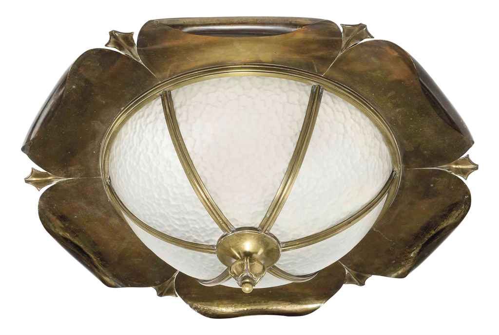 AN ARTS & CRAFTS BRASS, COPPER AND GLASS CEILING SHADE