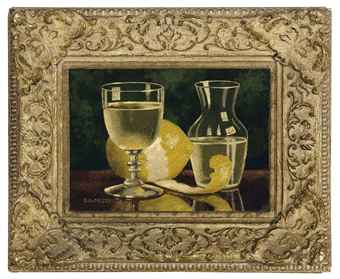 Still life of a carafe, a glass and lemon on a table