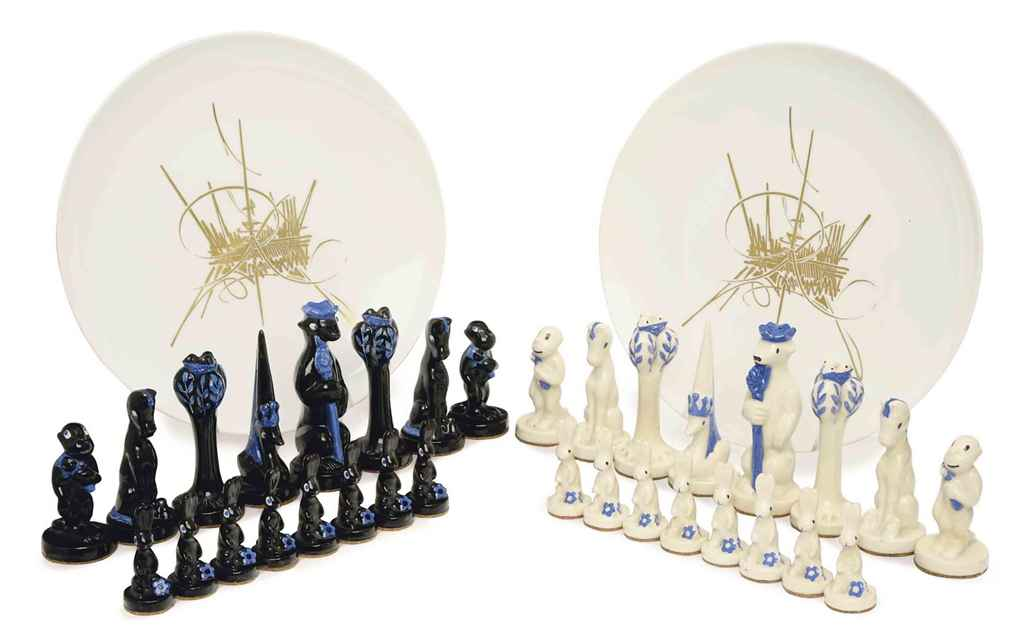 A french glazed ceramic animalier chess set and a pair of french porcelain chargers the set - Ceramic chess sets for sale ...