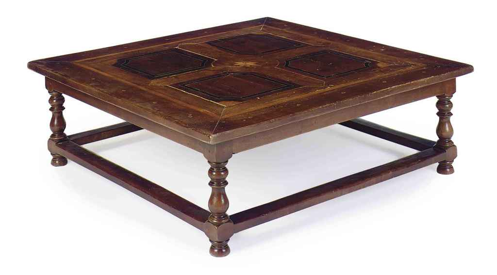 AN ITALIAN FRUITWOOD, ELM, AND WALNUT SQUARE LOW TABLE
