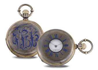 AMERICAN WATCH CO. A SILVER AND PINK GOLD HALF HUNTER CASE KEYLESS LEVER POCKET WATCH