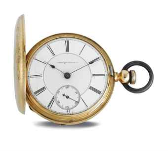AMERICAN WATCH CO. AN 18K GOLD HUNTER CASE KEY WOUND LEVER POCKET WATCH