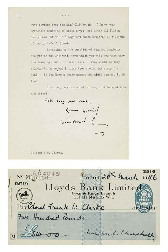 CHURCHILL, Winston S An archive of 3 typed letters signed (