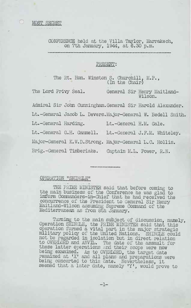 CHURCHILL, Winston S] Typed document, unsigned, Minutes of ...