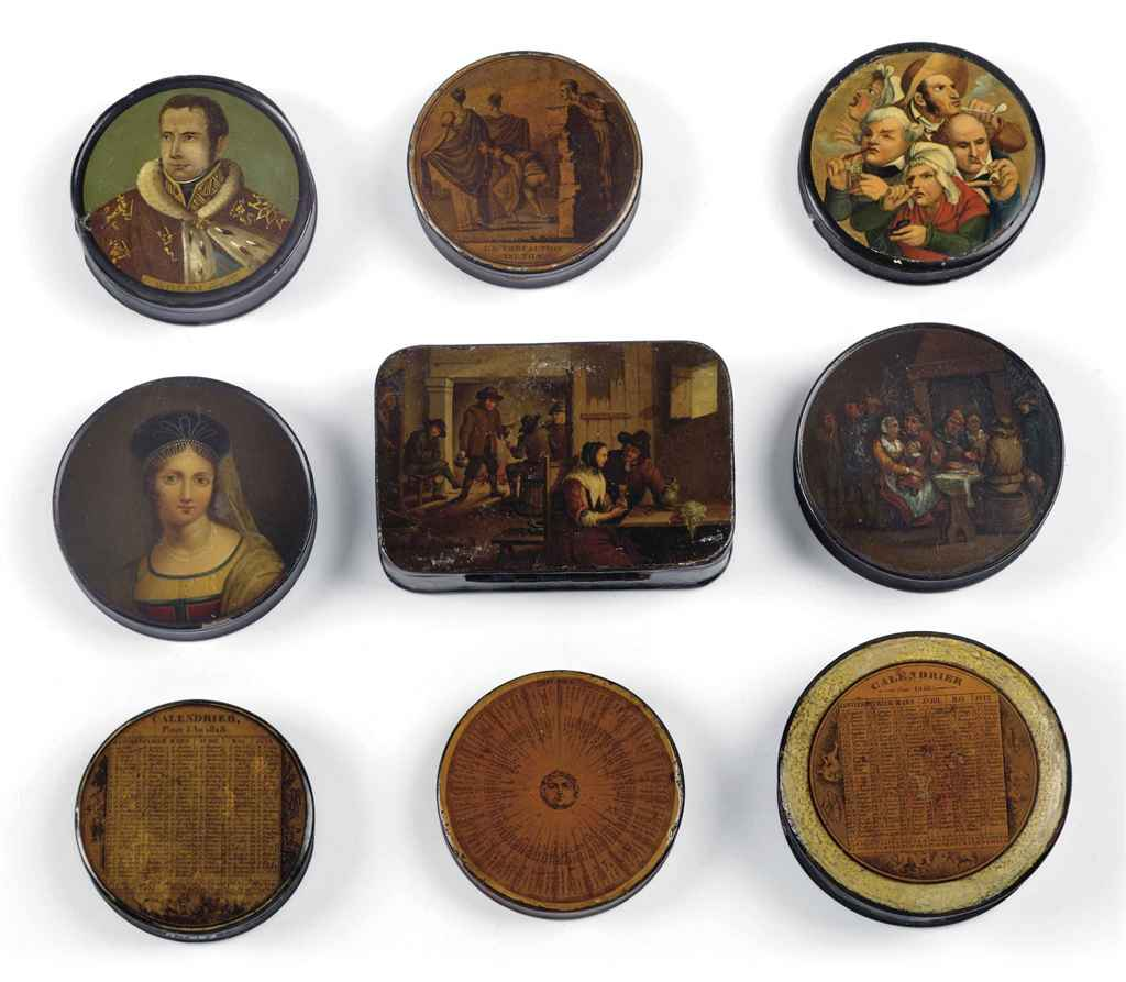 A COLLECTION OF EIGHT PAPIER MACHE SNUFF-BOXES