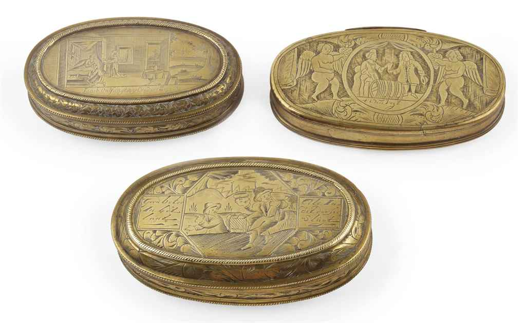 THREE VARIOUS DUTCH ENGRAVED BRASS TOBACCO BOXES