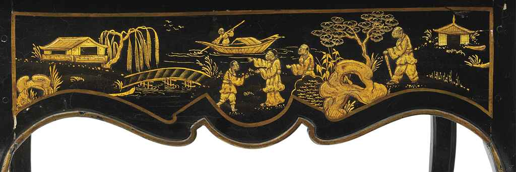 A LOUIS XV BLACK AND GILT-JAPA