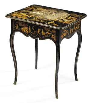 A LOUIS XV BLACK AND GILT-JAPANNED DRESSING-TABLE