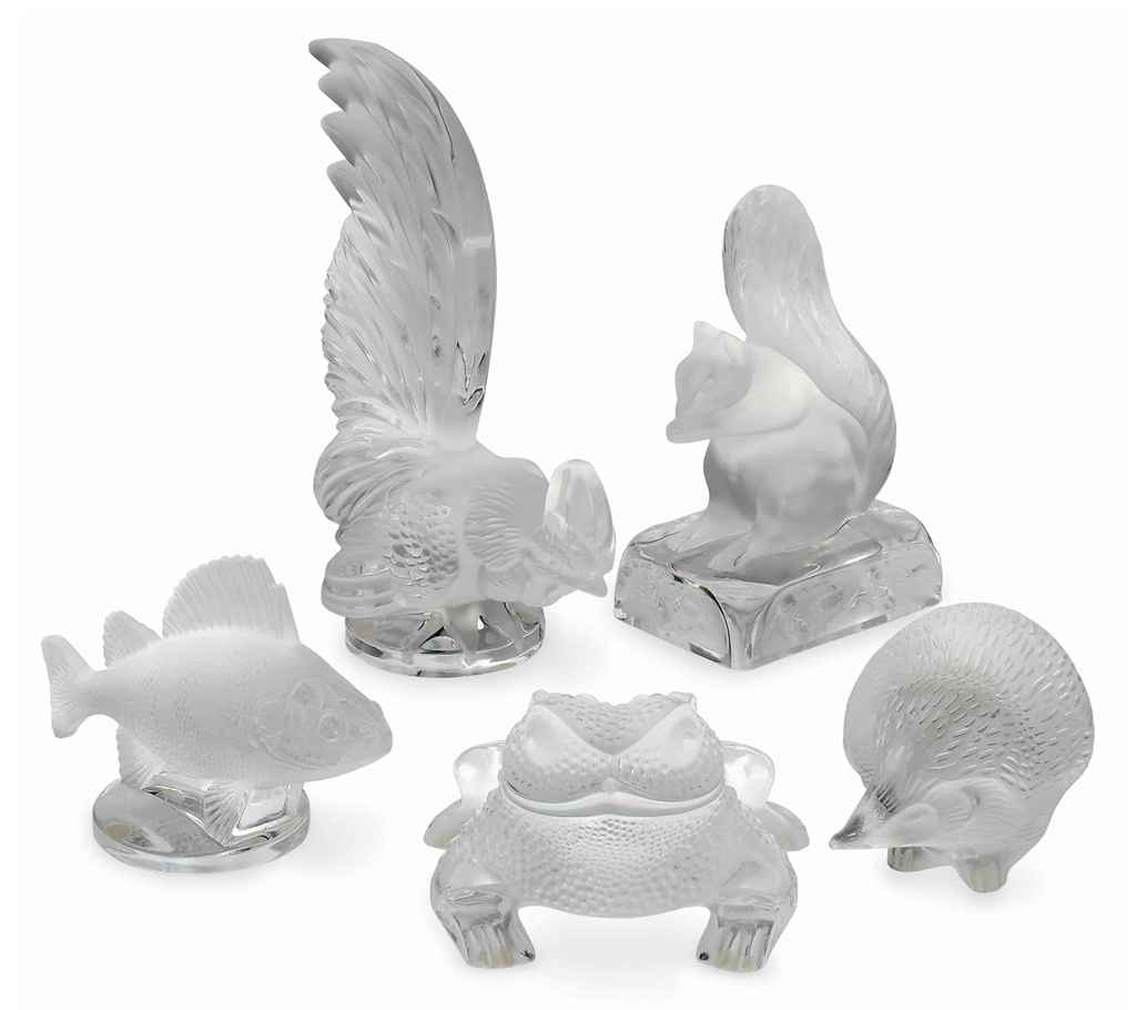 A GROUP OF LALIQUE MOULDED AND