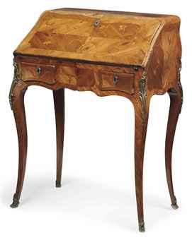 a louis xv tulipwood bois satine and bois de bout marquetry bureau de dame. Black Bedroom Furniture Sets. Home Design Ideas