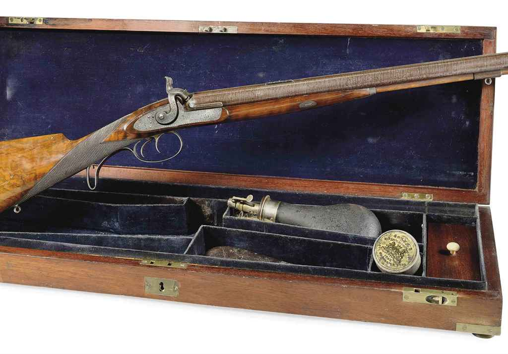 A FINE CASED DOUBLE-BARRELLED PERCUSSION COMBINATION GUN