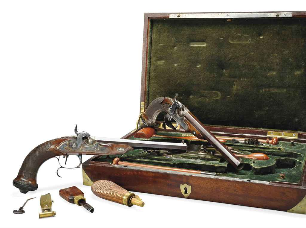 A FINE CASED PAIR OF FRENCH 25-BORE PERCUSSION TARGET PISTOL...