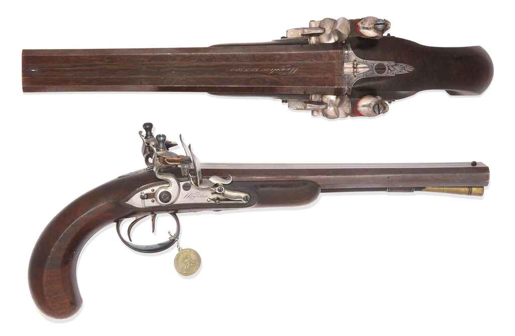 A PAIR OF 26-BORE DOUBLE-BARRE