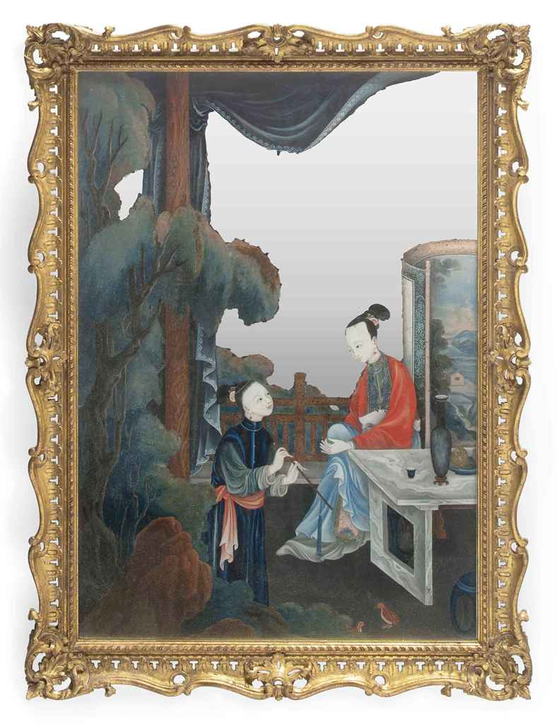 A CHINESE MIRROR-PAINTING