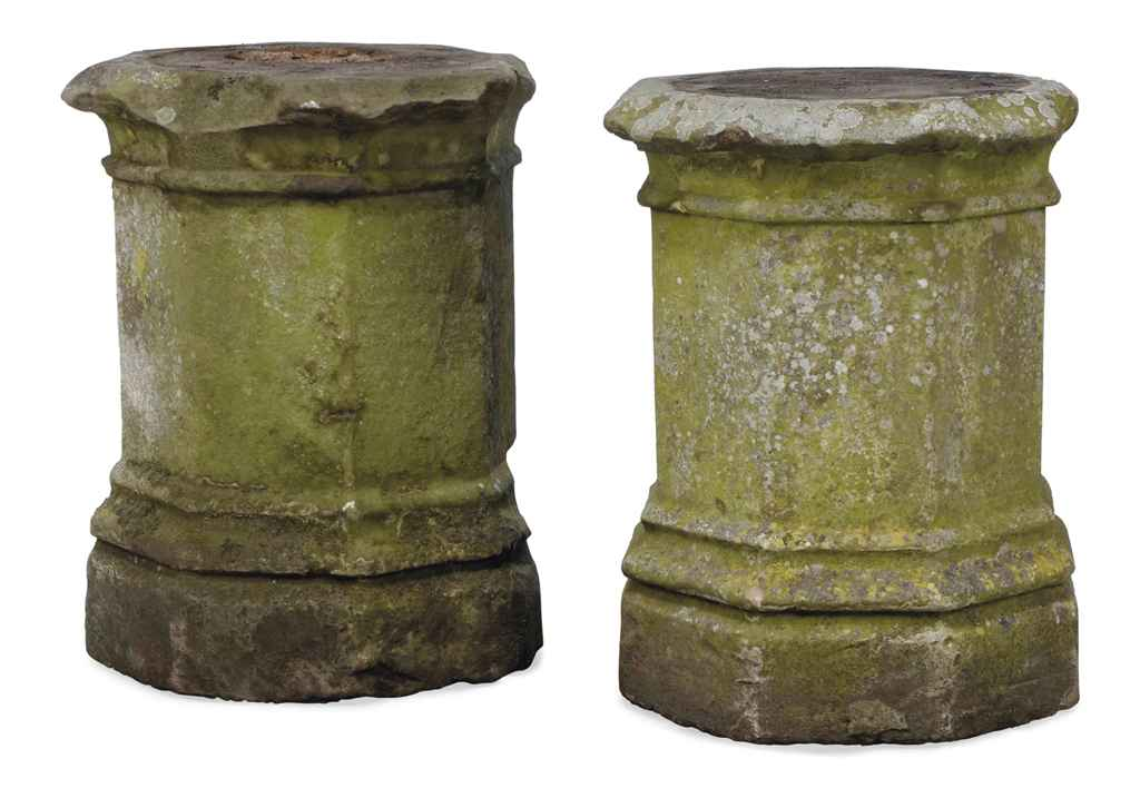A PAIR OF GRITSTONE PEDESTALS
