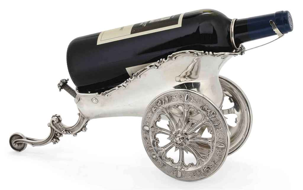 A FRENCH SILVER WINE CHARIOT