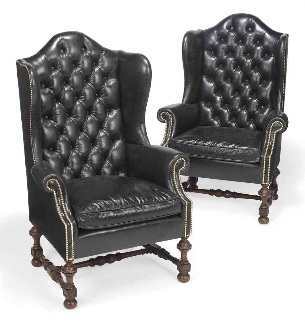 A PAIR OF WALNUT WING ARMCHAIR