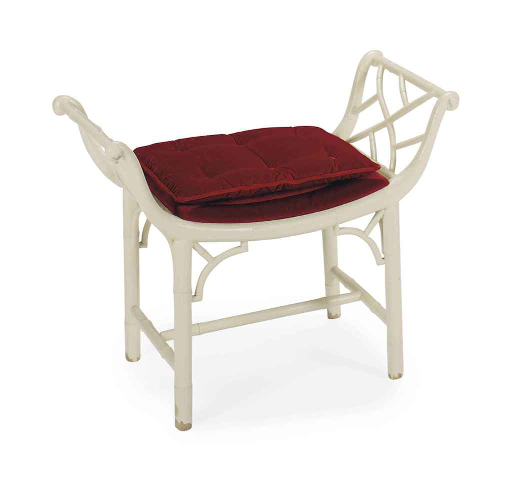 #682325 A WHITE LACQUERED FAUX BAMBOO VANITY STOOL BY WILLIAM  with 1024x959 px of Most Effective Vanity With Stool White 9591024 wallpaper @ avoidforclosure.info