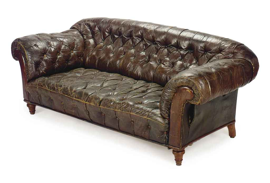 A French Button Tufted Leather Upholstered Chesterfield
