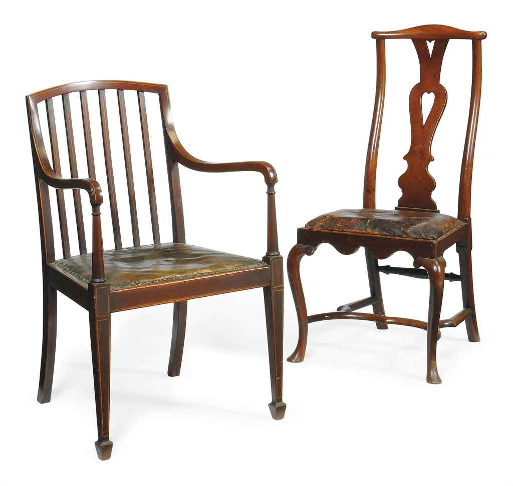 AN EDWARDIAN MAHOGANY AND LINE INLAID DESK CHAIR EARLY 20TH CENTURY Chris