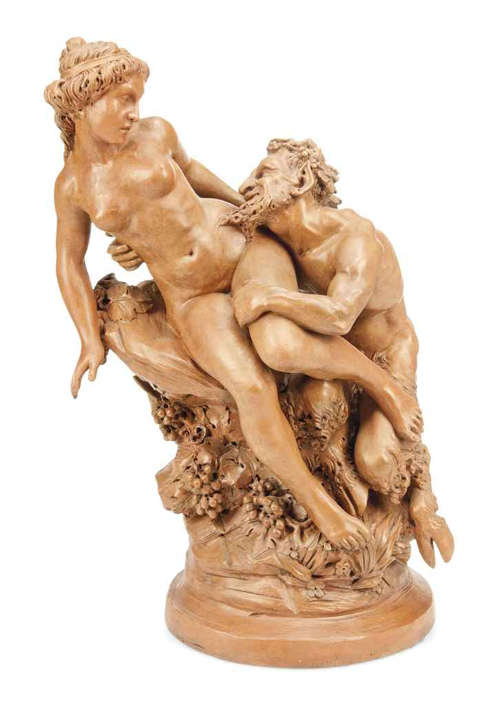 A FRENCH TERRACOTTA GROUP OF A