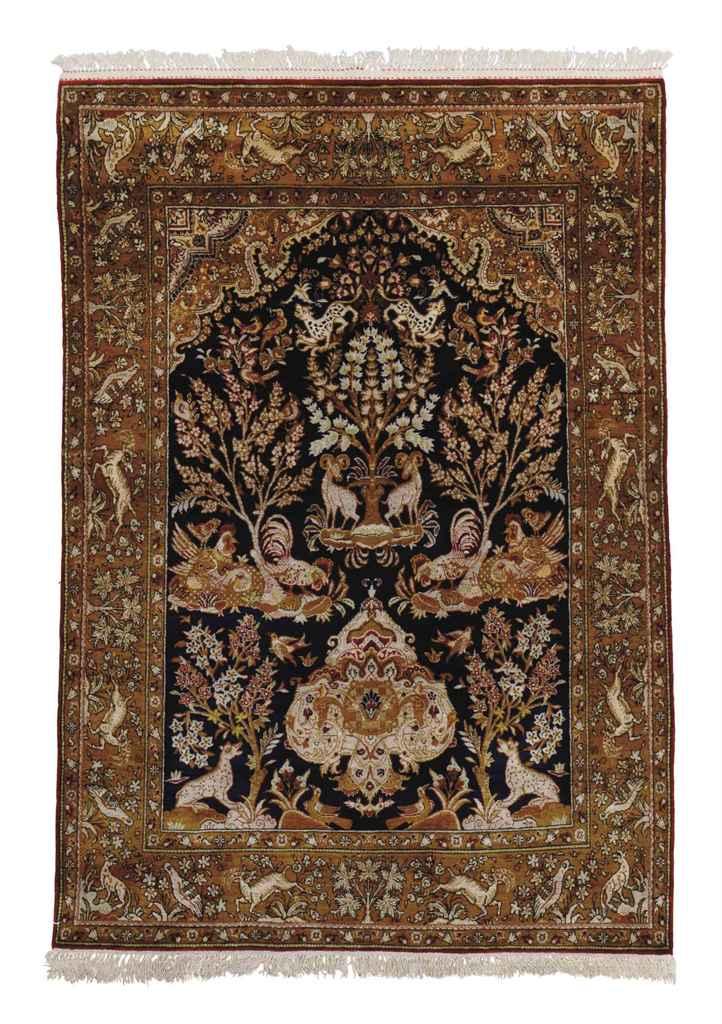 A very fine silk Qum prayer ru
