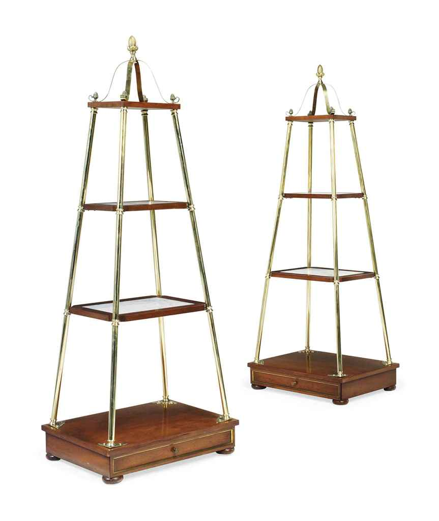 A PAIR OF MAHOGANY AND BRASS E