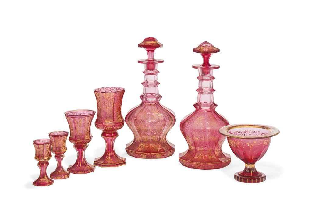 A PART SUITE OF CRANBERRY GLAS
