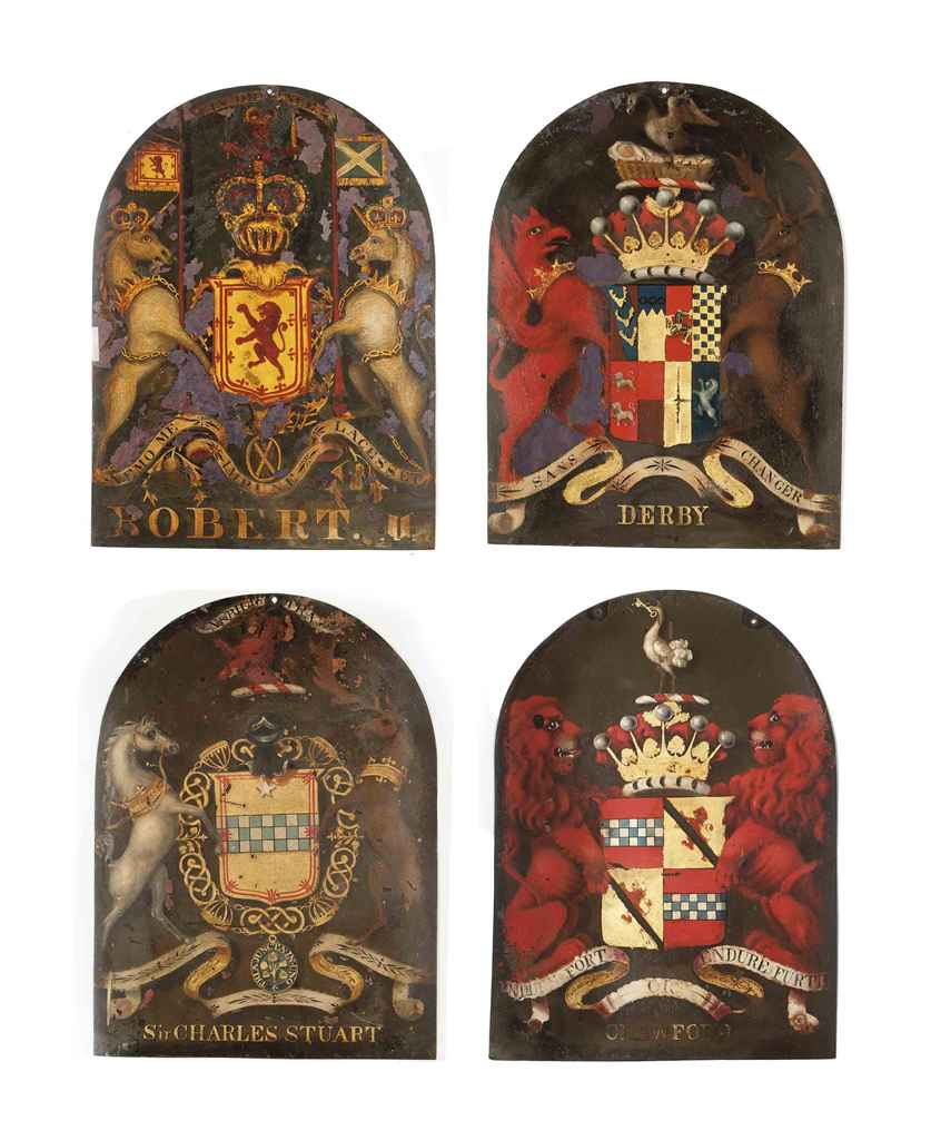 A SET OF FOUR PAINTED COPPER H