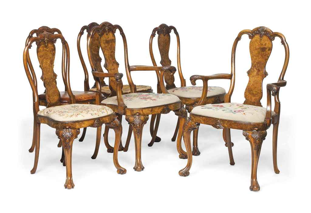 A SET OF SIX WALNUT AND BURR W