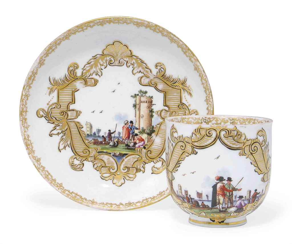 TWO MEISSEN COFFEE CUPS AND SA
