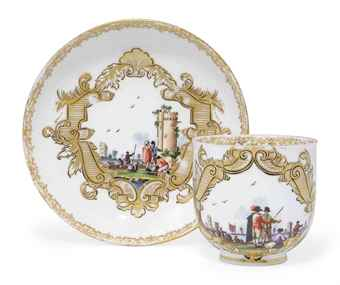 TWO MEISSEN COFFEE CUPS AND SAUCERS