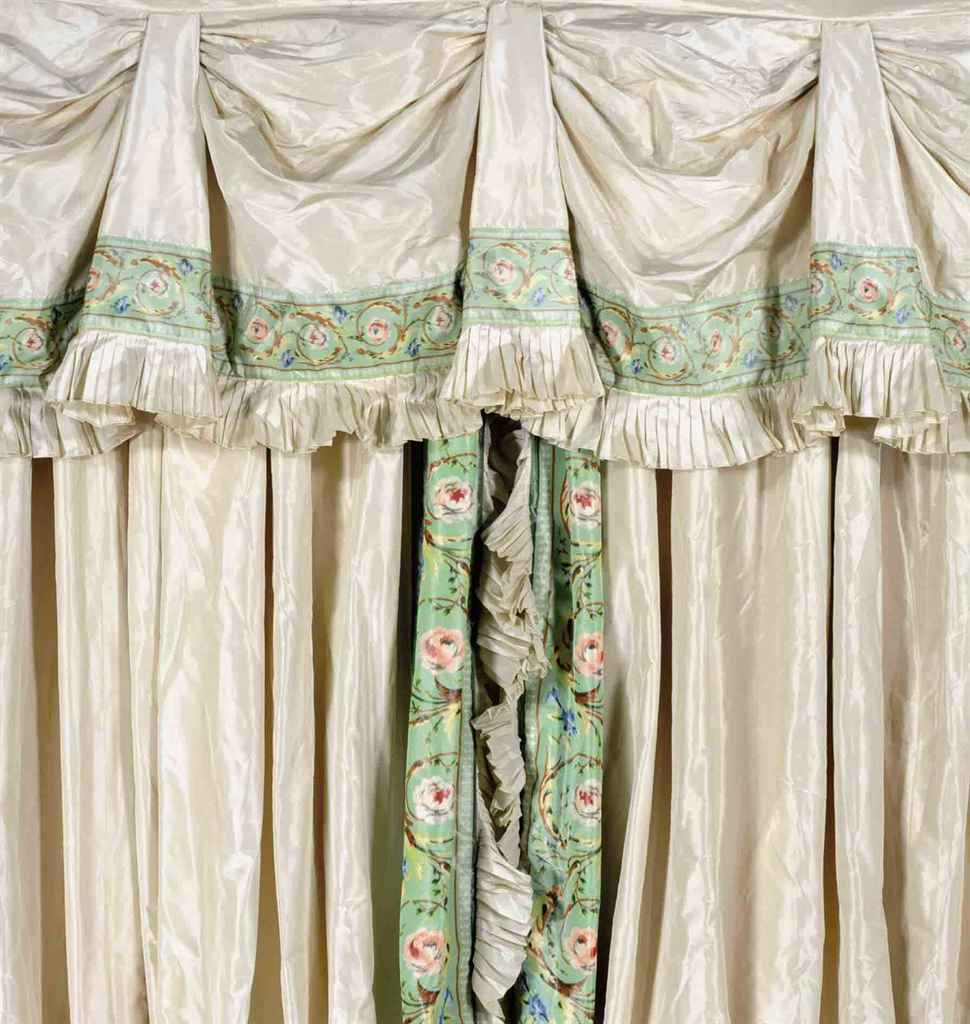two cream and green silk curtain panels late 20th century