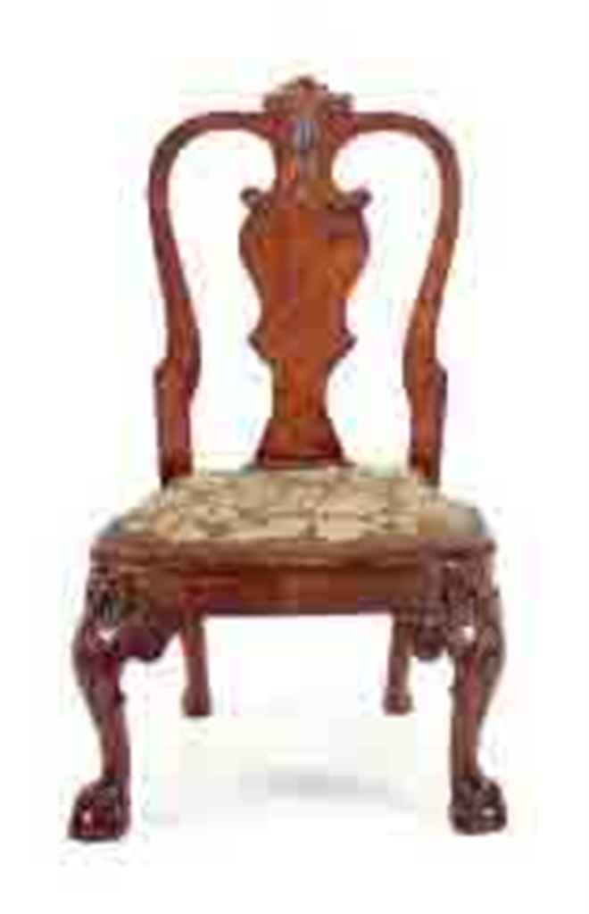 A CARVED WALNUT AND NEEDLEPOIN