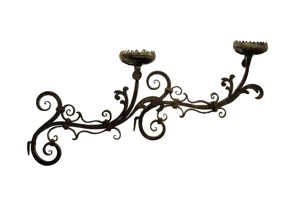 A GROUP OF THREE WROUGHT IRON