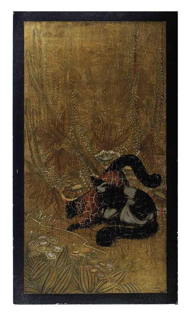 A FRENCH LACQUER PANEL DEPICTI