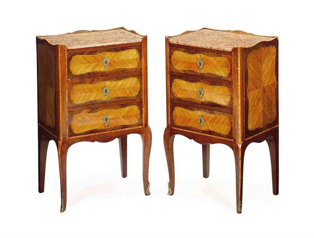 A PAIR OF FRENCH MARBLE-TOPPED