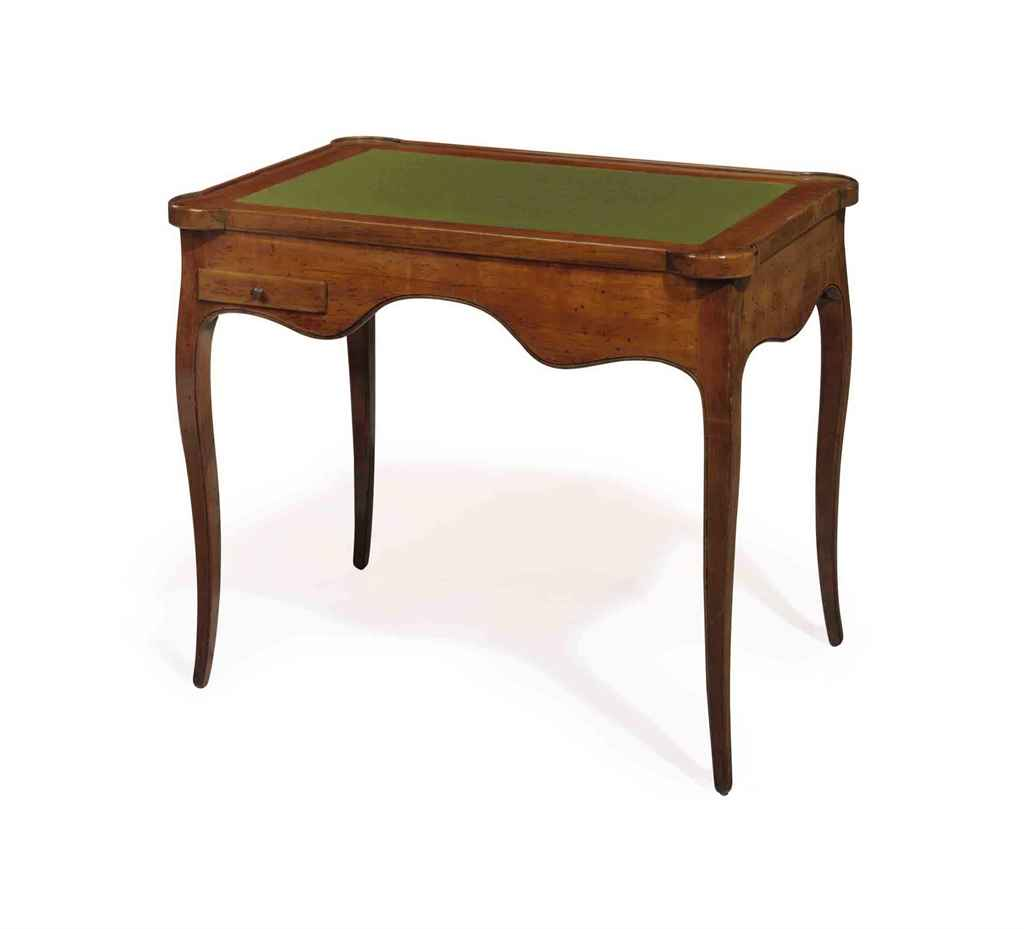 A FRENCH WALNUT GAMES TABLE,