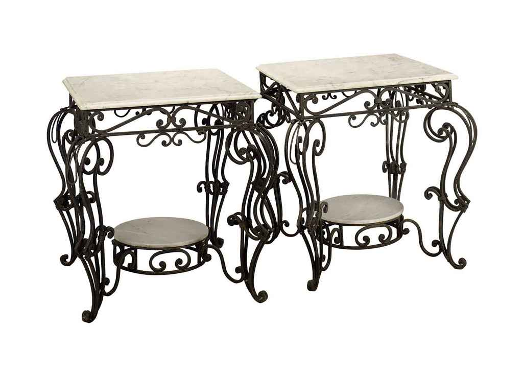 A PAIR OF WROUGHT-IRON AND WHI