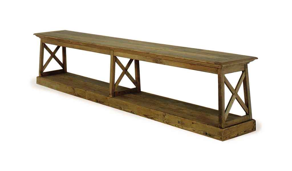 A LARGE PINE CONSOLE TABLE,