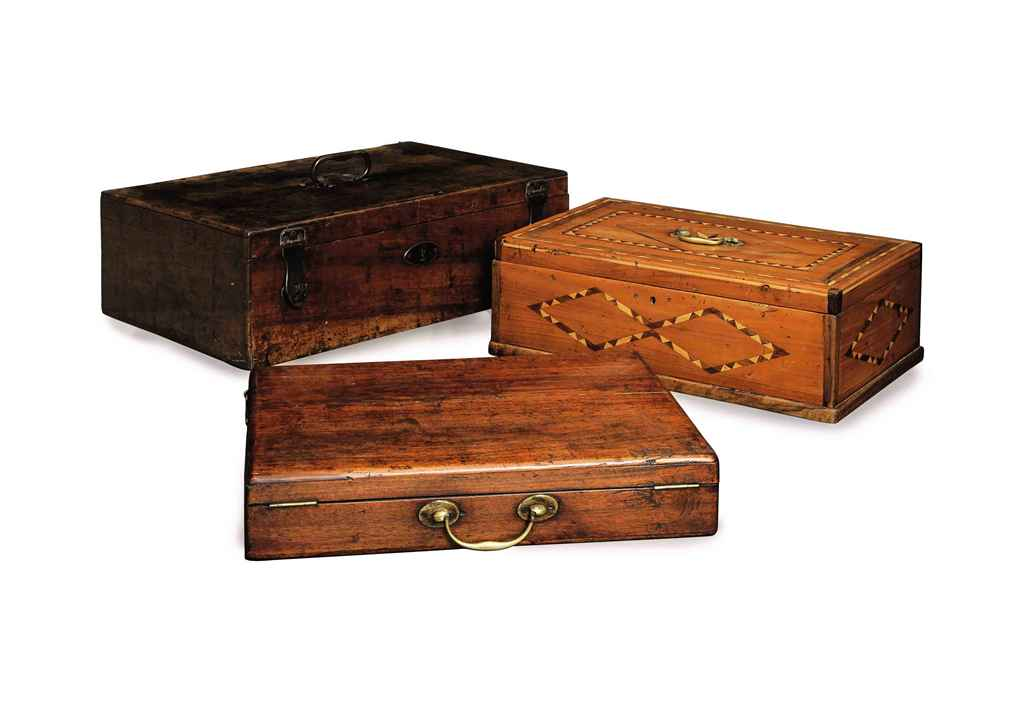 A GROUP OF THREE WALNUT CASKET