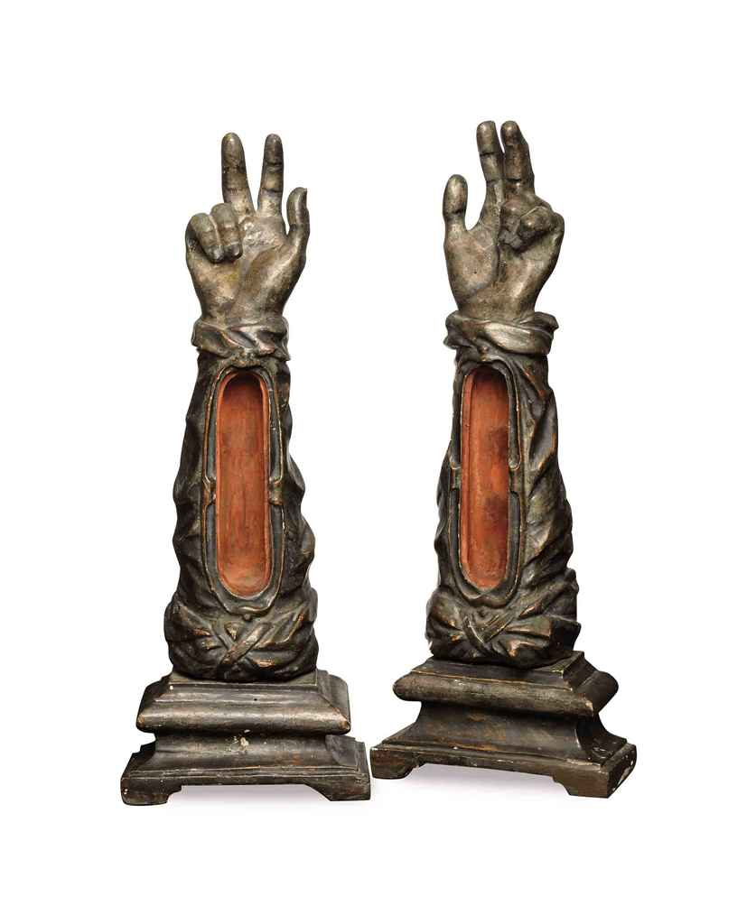 A PAIR OF ITALIAN SILVERED-WOO