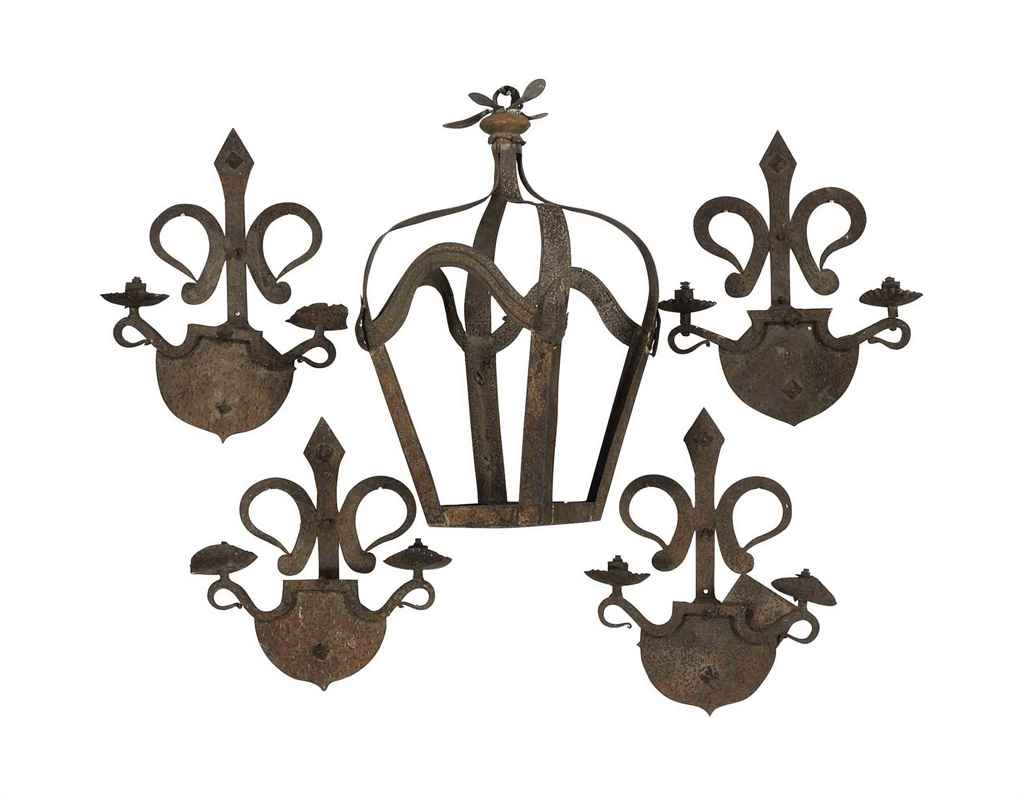 A SET OF FOUR SPANISH WROUGHT-