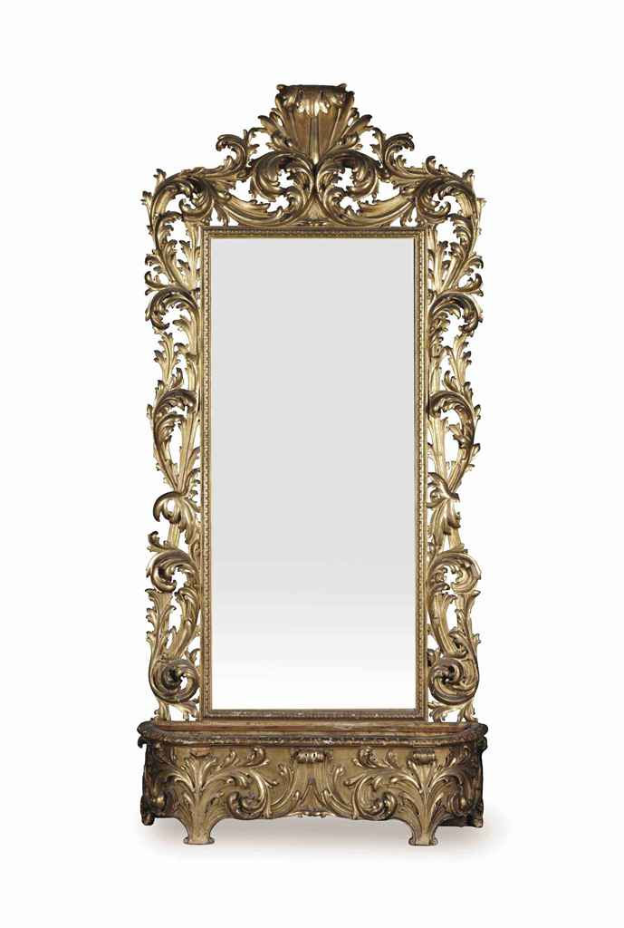 A ITALIAN GILTWOOD MIRROR AND