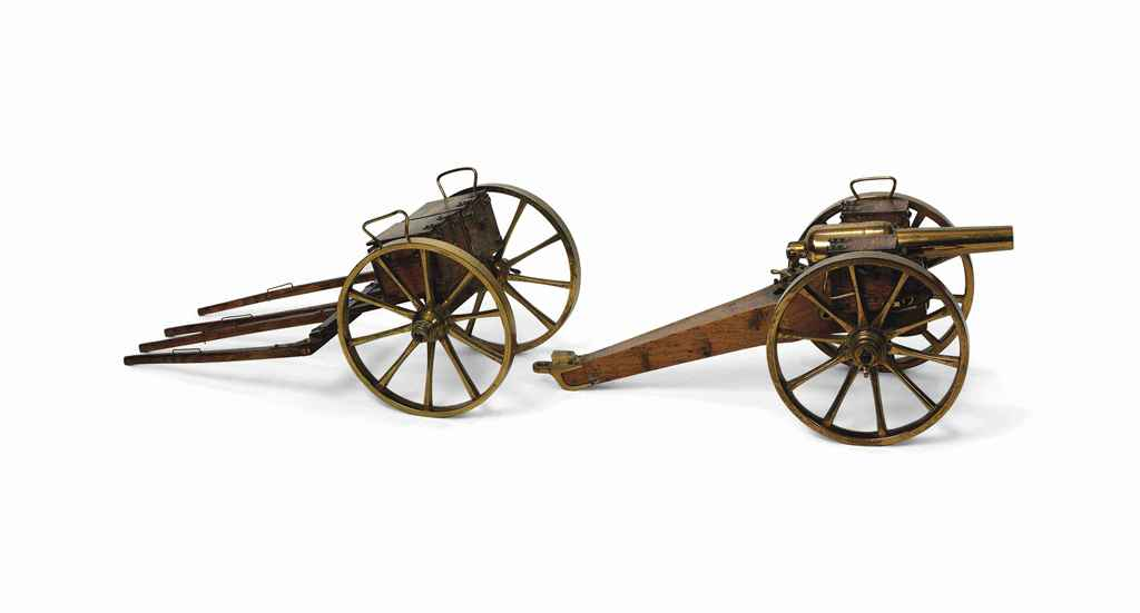 A MODEL OF A RIFLED MUZZLE LOADING FIELD GUN ON CARRIAGE WIT...