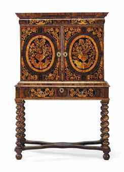 A WILLIAM AND MARY OYSTER-VENEERED OLIVE-WOOD, MARQUETRY AND WALNUT CABINET-ON-STAND